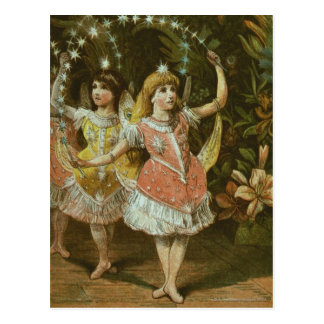 Two young girls perform ballet postcard