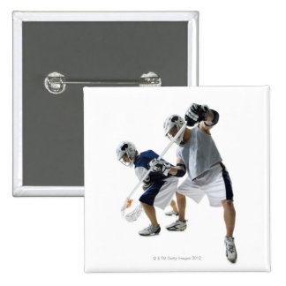 Two young men playing lacrosse 15 cm square badge