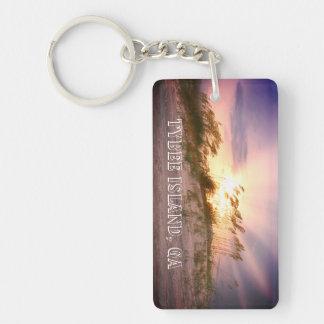 Tybee Island, GA Sunset Single-Sided Rectangular Acrylic Key Ring