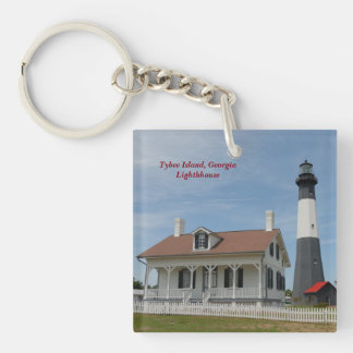 Tybee Island, Georgia Lighthouse Single-Sided Square Acrylic Key Ring