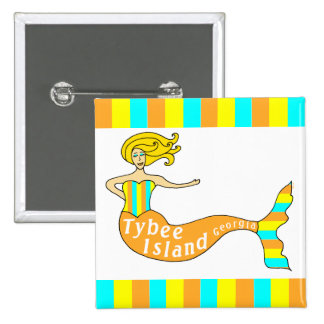 Tybee Island Georgia Mermaid Square Buttons
