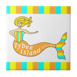 Tybee Island Georgia Mermaid Ceramic Tiles