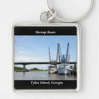 Tybee Island, Georgia Shrimp Boats Silver-Colored Square Key Ring