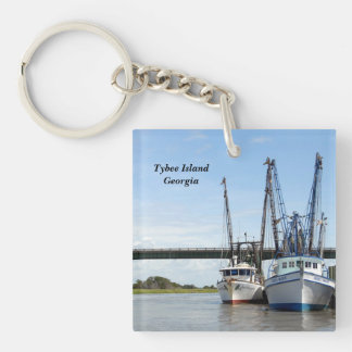Tybee Island, Georgia Shrimp Boats Single-Sided Square Acrylic Key Ring