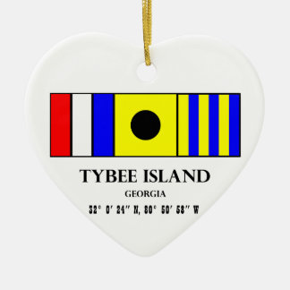 Tybee Island Nautical Flag Ceramic Heart Decoration