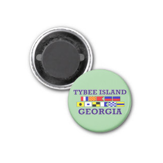 Tybee Island Nautical Flag - Round Magnet