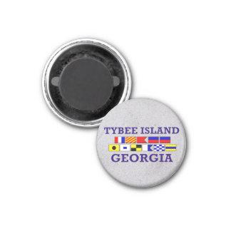 Tybee Island Nautical Flag - Sandy Round Magnet