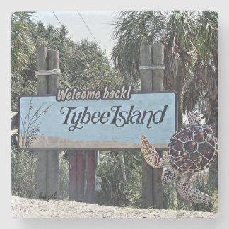 Tybee Island Welcome Coaster, Stone Coaster