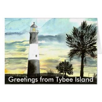 TYBEEISLANDLIGHTPOSTER, Greetings from Tybee Is... Card