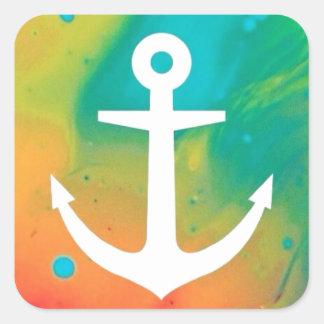 Tye Dye Anchor Design Square Sticker