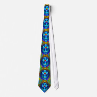 Tye Dye Blue Cross with Heart Tie