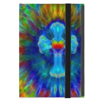 Tye Dye Cross in Blue Colors with Heart Case For iPad Mini