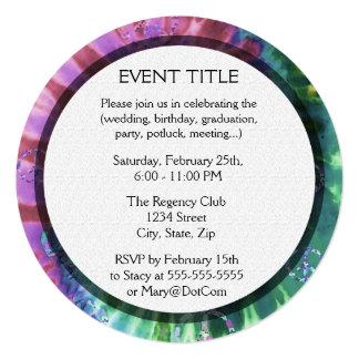 "Tye Dye Cross Pink Colors 5.25"" Square Invitation Card"