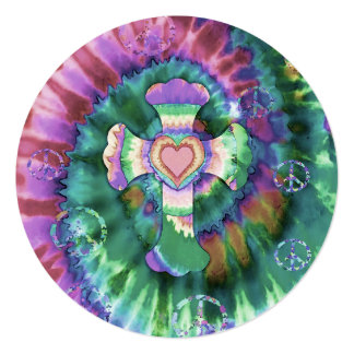 Tye Dye Cross Pink Colors 5.25x5.25 Square Paper Invitation Card