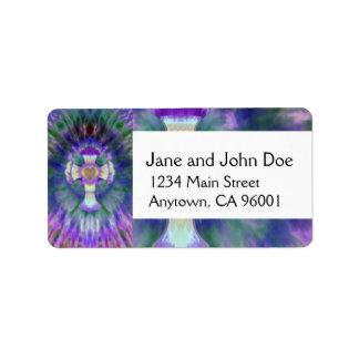 Tye Dye Cross with Heart Center in Purple, Blue Address Label