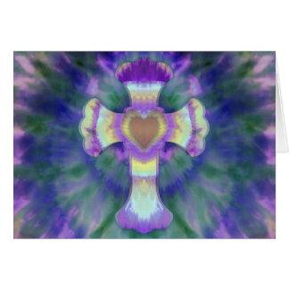 Tye Dye Cross with Heart Center in Purple, Blue Card