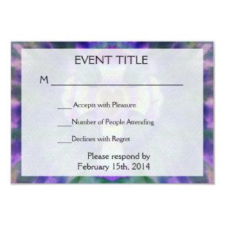 """Tye Dye Cross with Heart Center in Purple, Blue 3.5"""" X 5"""" Invitation Card"""
