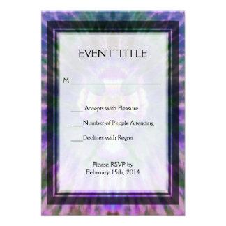 Tye Dye Cross with Heart Center in Purple, Blue Personalized Announcement