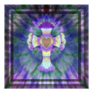 Tye Dye Cross with Heart Center in Purple, Blue Invites