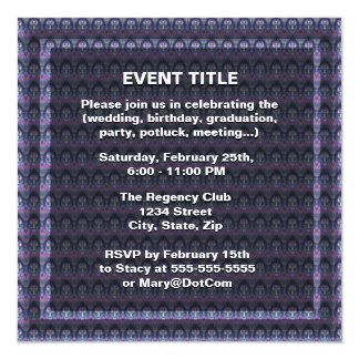"Tye Dye Cross with Heart Center in Purple, Blue 5.25"" Square Invitation Card"
