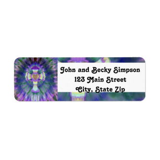 Tye Dye Cross with Heart Center in Purple, Blue Return Address Label