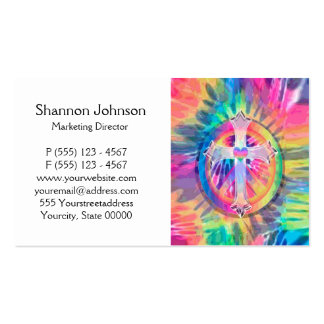 Tye Dye Cross with Heart in Center Business Card Template