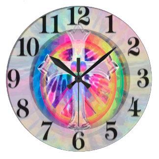 Tye Dye Cross with Heart in Center Clocks