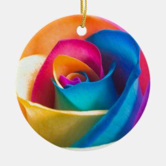 Tye Dye single rose Ceramic Ornament