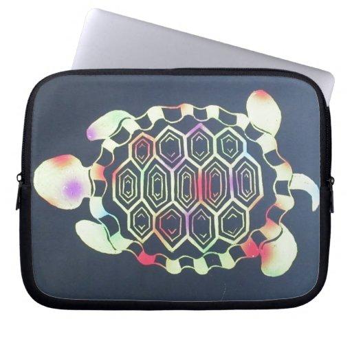 Tye-dye turtle laptop sleeve
