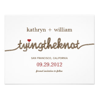 Tying the Knot Modern Save The Date Announcement Announcements