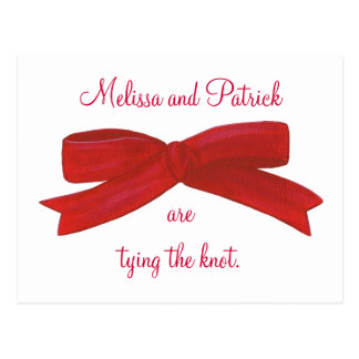 Tying the knot Red Bow Wedding Invitation postcard