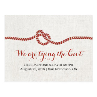 Tying the Knot Red Rope Save the Date Wedding Postcard