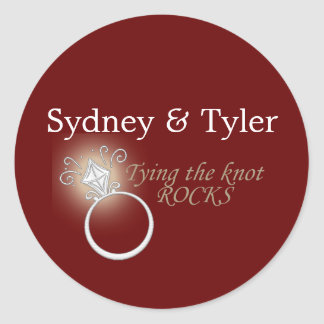 Tying the Knot Rocks Round Stickers