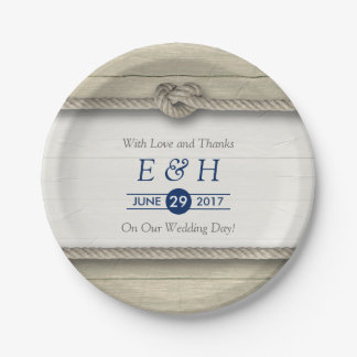 Tying The Knot Rustic Beach Wedding 7 Inch Paper Plate