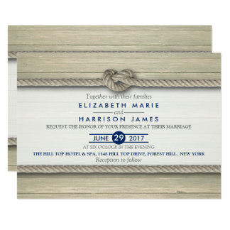 Tying The Knot Rustic Beach Wedding Card