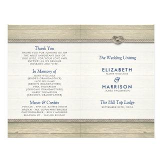 Tying The Knot Rustic Beach Wedding Program Flyer
