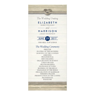 Tying The Knot Rustic Beach Wedding Program Rack Card