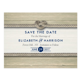 Tying The Knot Rustic Beach Wedding Save The Date Postcard