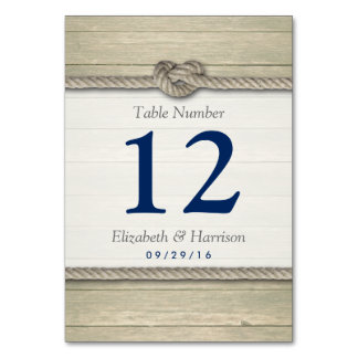 Tying The Knot Rustic Beach Wedding Table Number