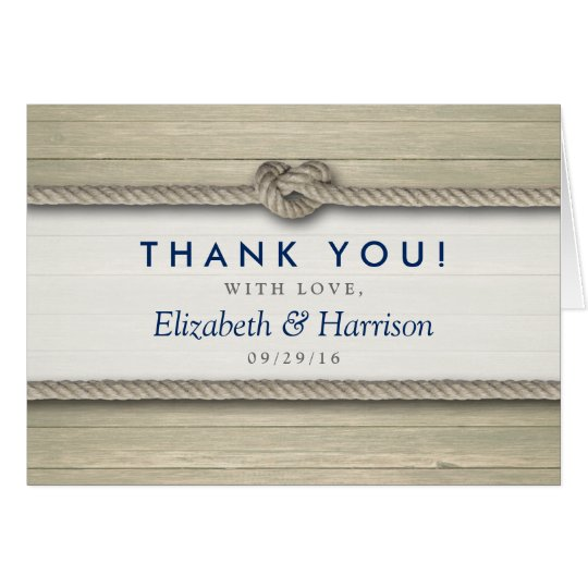 Tying The Knot Rustic Beach Wedding Thank You Card