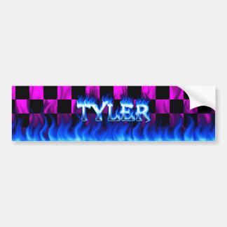 Tyler blue fire and flames bumper sticker design.