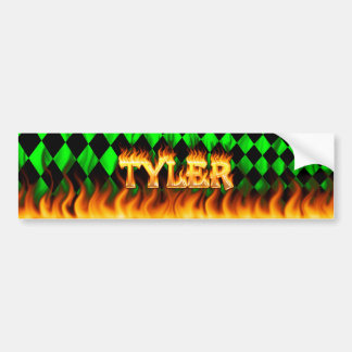 Tyler real fire and flames bumper sticker design
