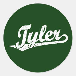 Tyler script logo in white distressed round sticker