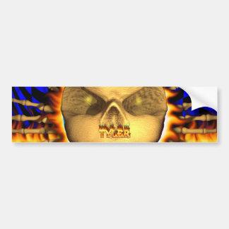 Tyler skull real fire and flames bumper sticker de