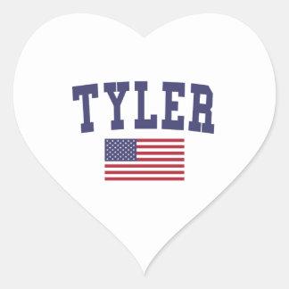 Tyler US Flag Heart Sticker