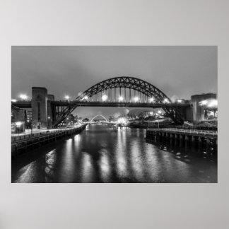 Tyne Bridge at night Poster