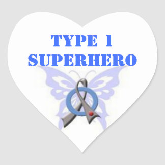 Type 1 Superhero Heart Shaped Stickers