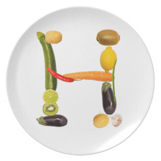"""type character """"H"""" OF fruits and vegetables Party Plates"""