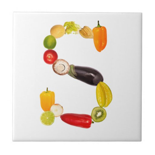 """type character """"S"""" OF fruits and vegetables Ceramic Tile"""