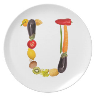 """type character """"U"""" OF fruits and vegetables Dinner Plates"""